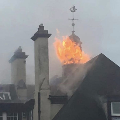 tower on fire image